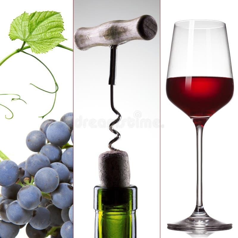 Weincollage - Traube, Flasche und Glas stockfotos