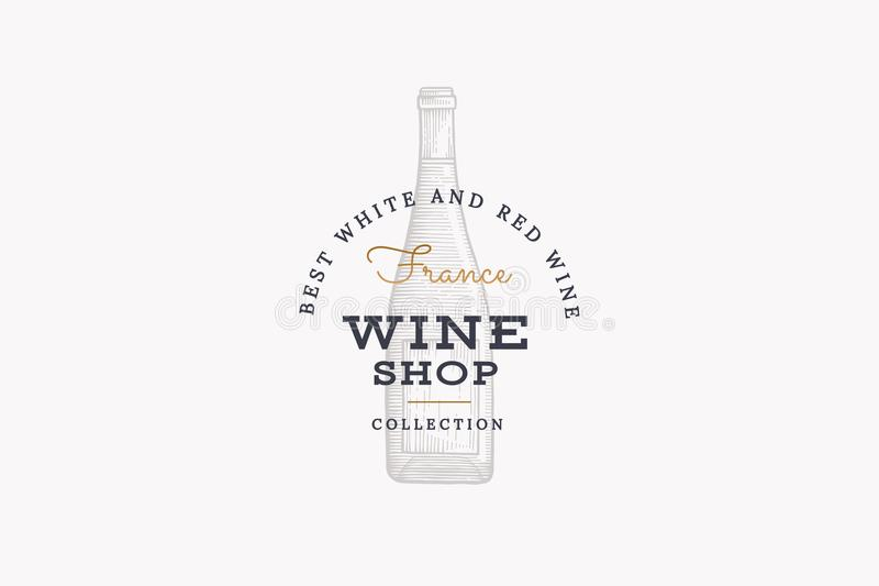 Weine von Frankreich Vector Logo der Weinhandlung mit Flasche Champagner auf weißem Hintergrund vektor abbildung