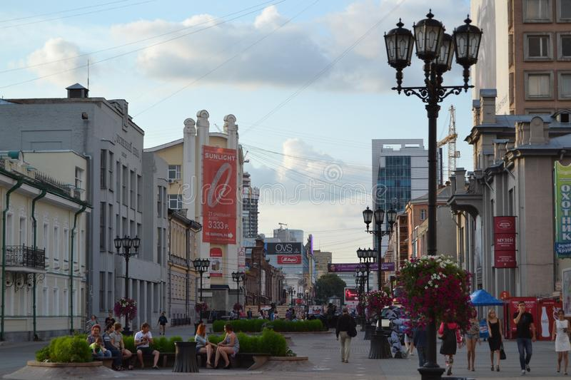 Weiner street - the main pedestrian attraction Ural Arbat in Yekaterinburg, the capital of the Middle Urals stock photo