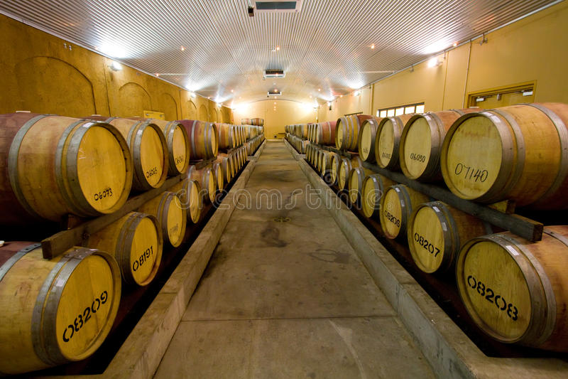 Weinfässer an der Weinkellerei stockfoto