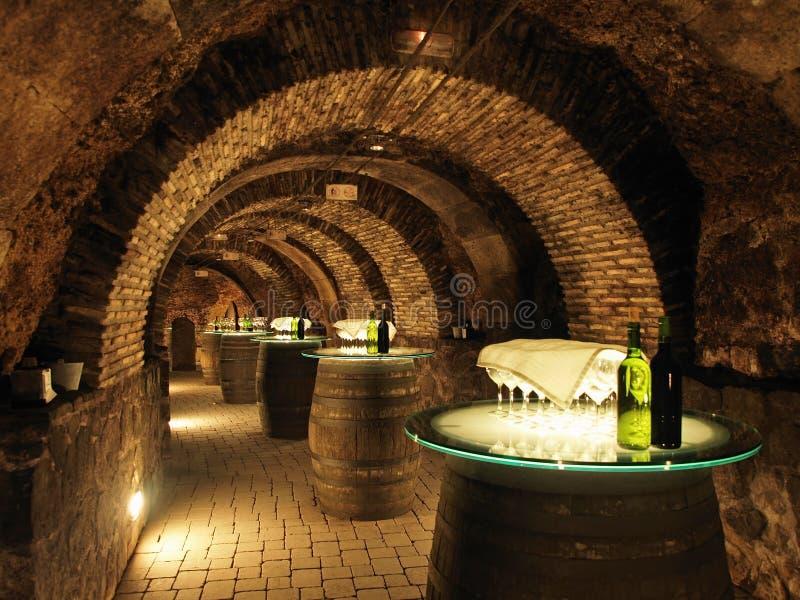 Weinfässer im alten Keller lizenzfreie stockfotos