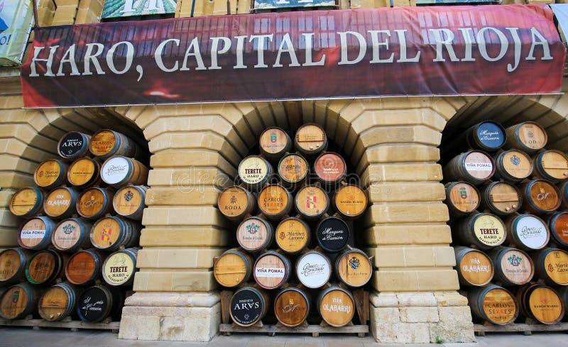 Weinfässer im Haro, Rioja, Spanien stockfoto