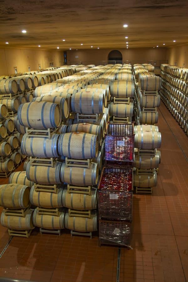 Weinfässer im Keller der Weinkellerei Weinfässer in den Weinwölbungen Produzent: Antinori Bolgheri, Toskana, Italien lizenzfreie stockfotos