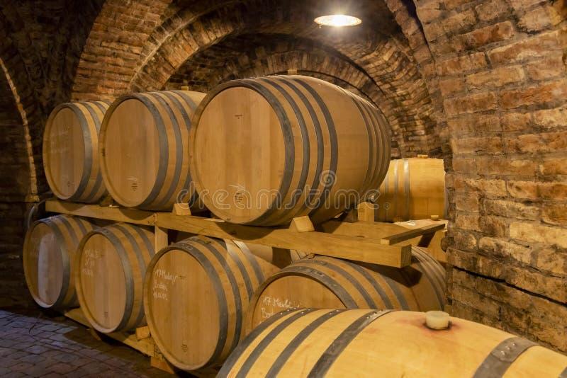 Weinfässer im Keller, Szekszard, Ungarn lizenzfreies stockfoto