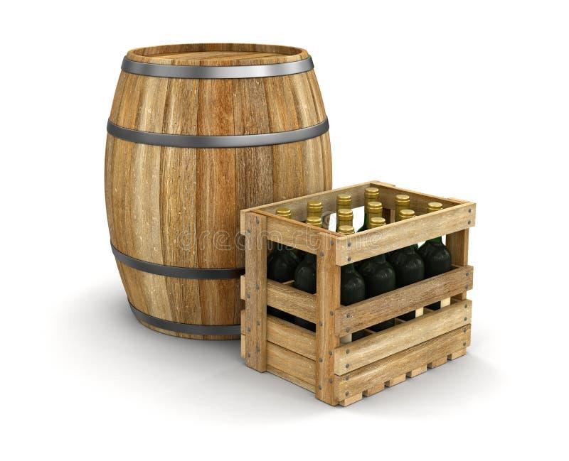 Weinfaß und -Holzkiste mit Weinflaschen (Beschneidungspfad eingeschlossen) stock abbildung
