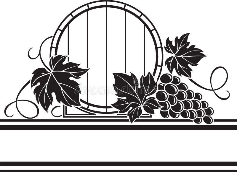 Weinfaß und Traubenbündel stock abbildung