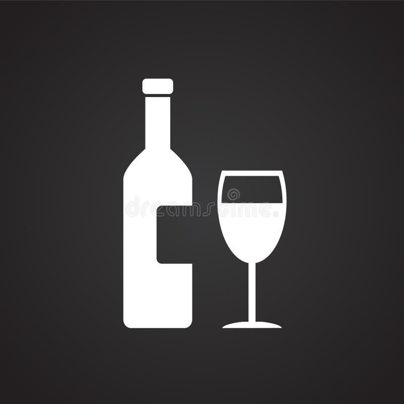 Weinflasche mit Glas auf schwarzem Hintergrund stock abbildung