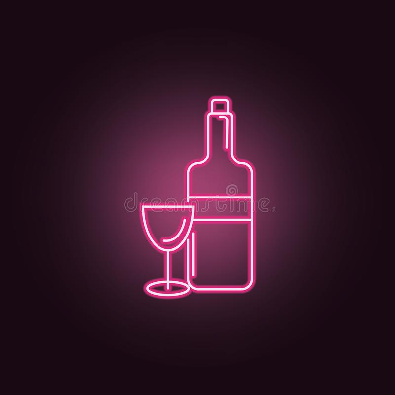 Weinflasche mit Weinglas-Neonikone Elemente des Parteisatzes Einfache Ikone f?r Website, Webdesign, mobiler App, Informationsgrap vektor abbildung