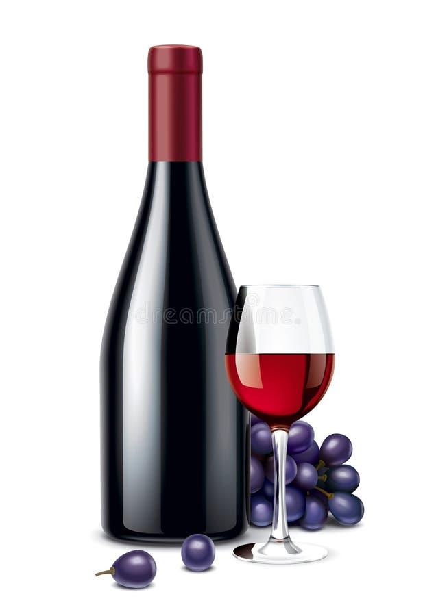 Weinflasche, Trauben und Weinglas vektor abbildung