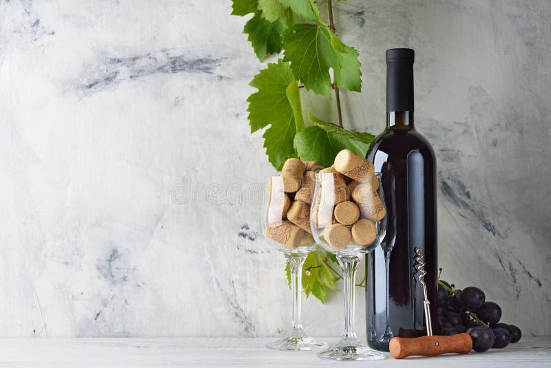Weinflasche und -gl?ser lizenzfreies stockfoto