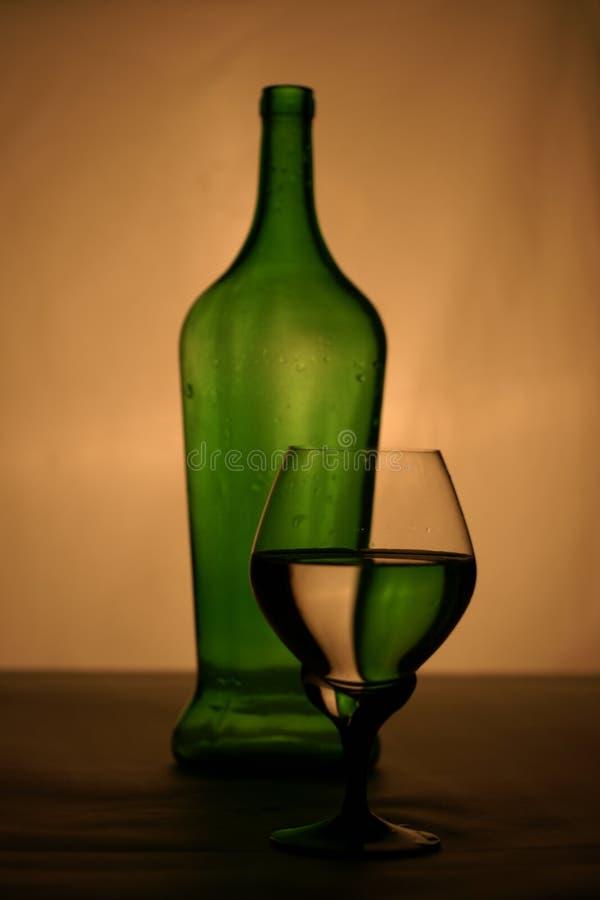 Weinflasche und -glas lizenzfreie stockfotografie