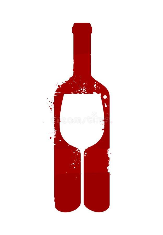 Weinflasche und -glas Alkoholisches Getränk Auch im corel abgehobenen Betrag lizenzfreie abbildung