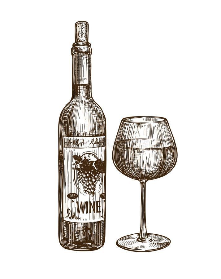 Weinflasche und -glas Alkoholisches Getränk Weinleseskizzenvektor stock abbildung