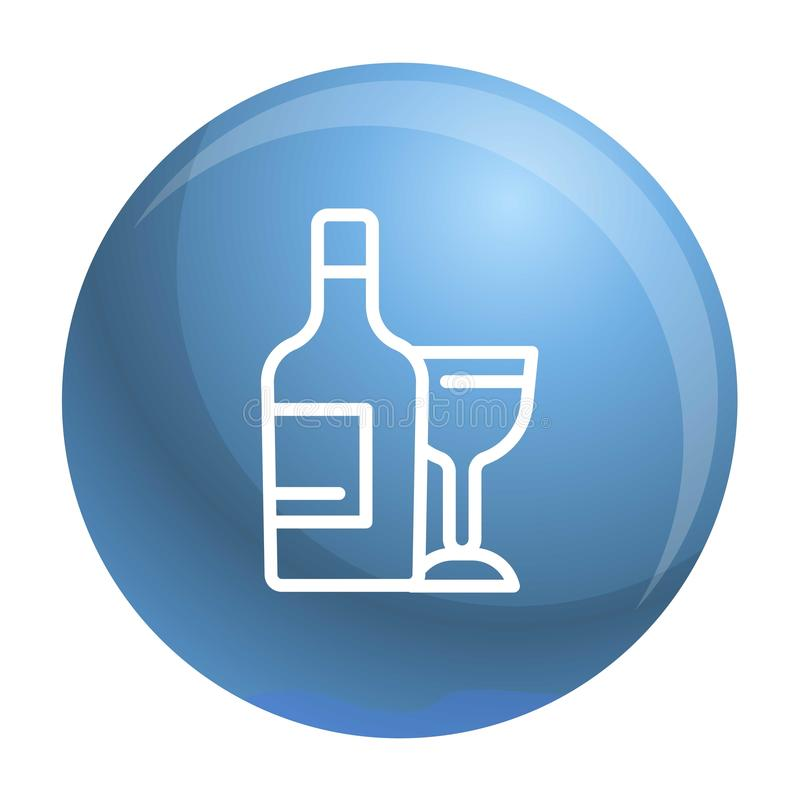 Weinflasche und Glasikone, Entwurfsart lizenzfreie abbildung