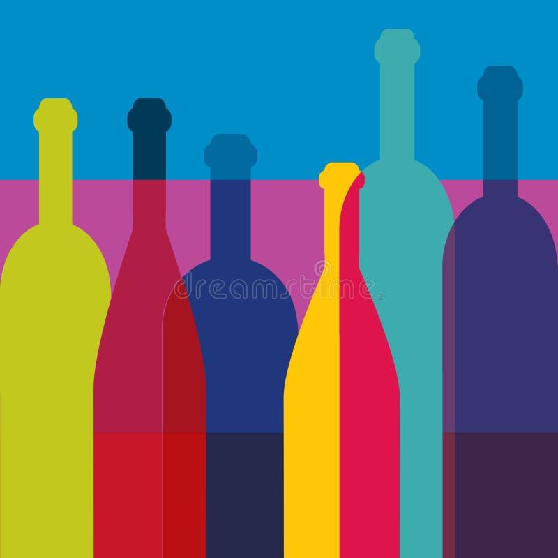Weinflaschen Kunsthintergrund Weinrestaurantkonzept vektor abbildung
