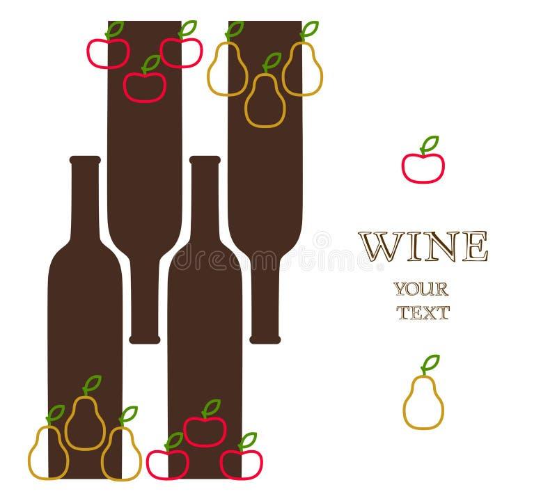 Weinflaschen mit Äpfeln und Birnen, Anzeigenfahne stock abbildung