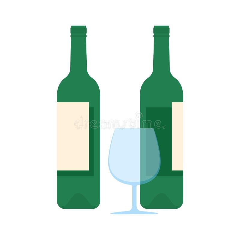 Weinflaschen passen und Glassatz flache Ikonen zusammen vektor abbildung