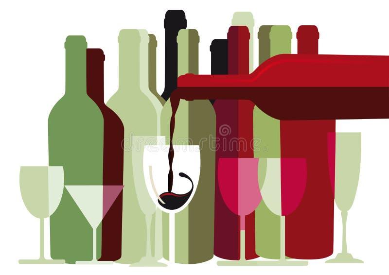 Weinflaschen und -gläser stock abbildung