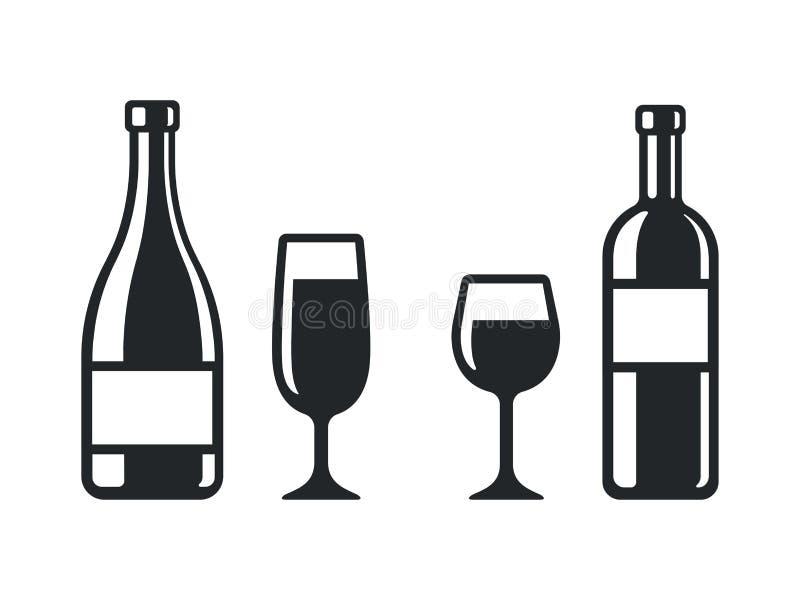 Weinflaschen- und -glasikonen vektor abbildung