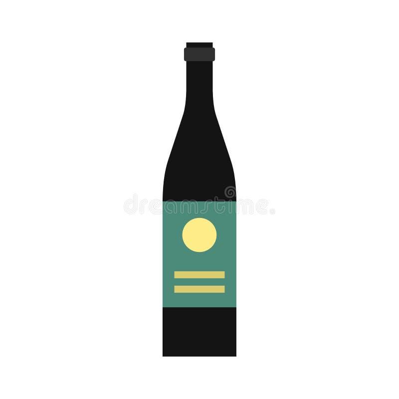 Weinflaschenikone, flache Art vektor abbildung