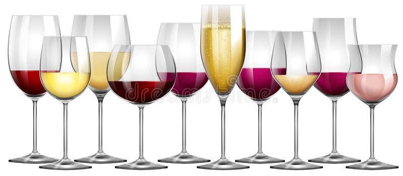 Weingläser Rot weingläser gefüllt mit rot und weißwein vektor abbildung