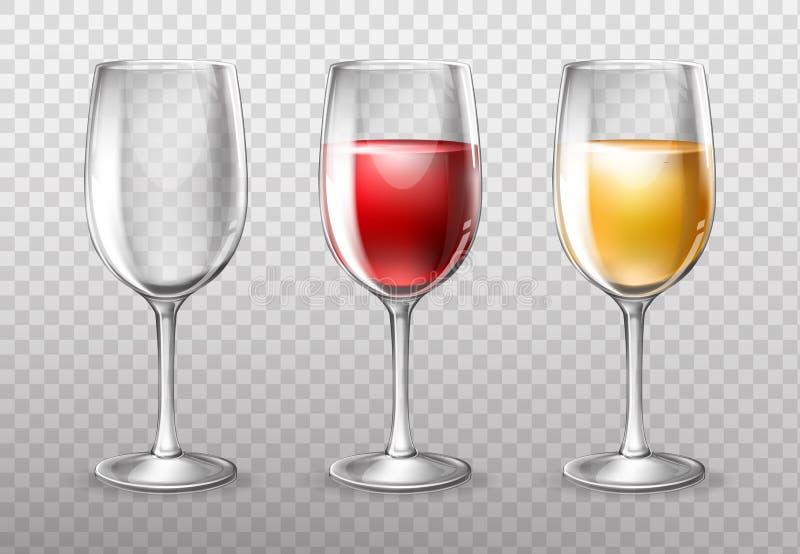 Weingläser, leer und voll vom Rotwein lizenzfreie abbildung