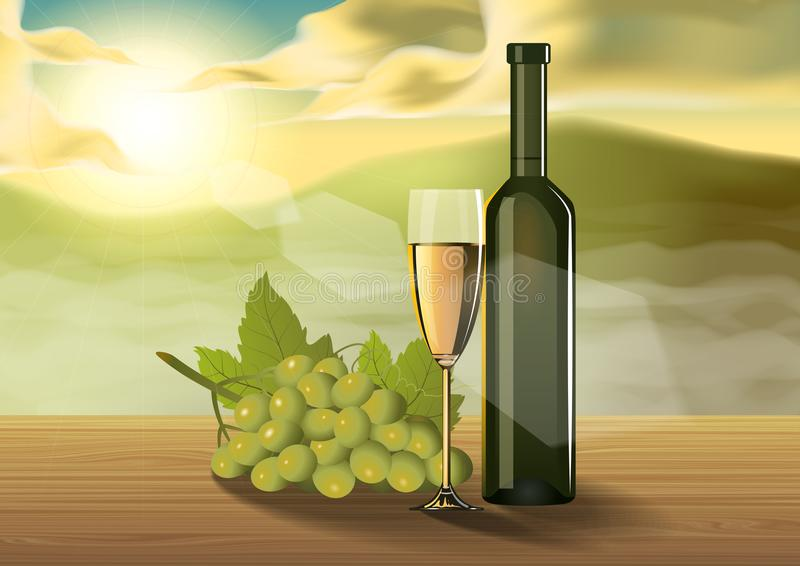 Weinglas auf Holztisch auf dem Morgen lizenzfreie abbildung