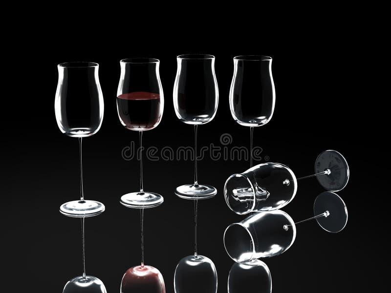 Weinglas auf Schwarzem stock abbildung