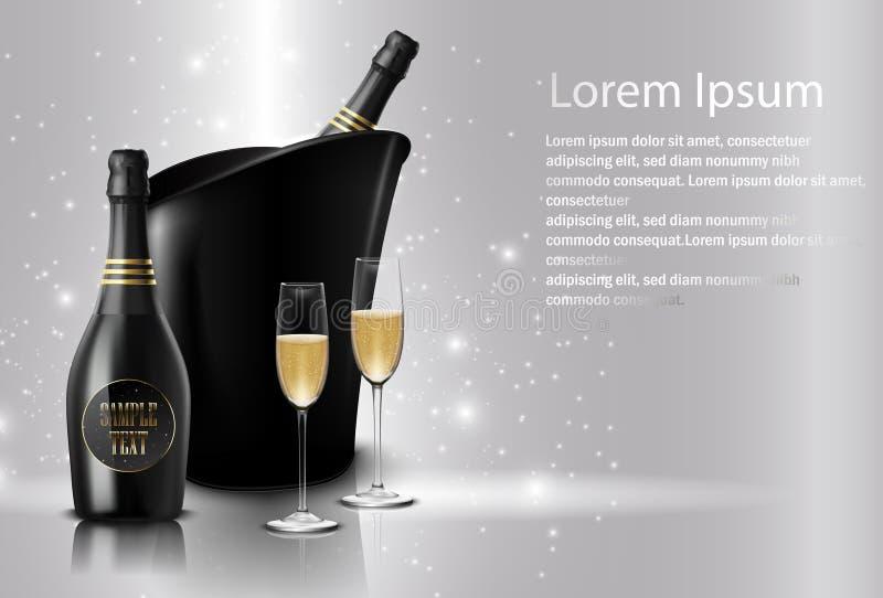 Weinglas mit schwarzen Weinflaschen Champagner in einem Eimer vektor abbildung