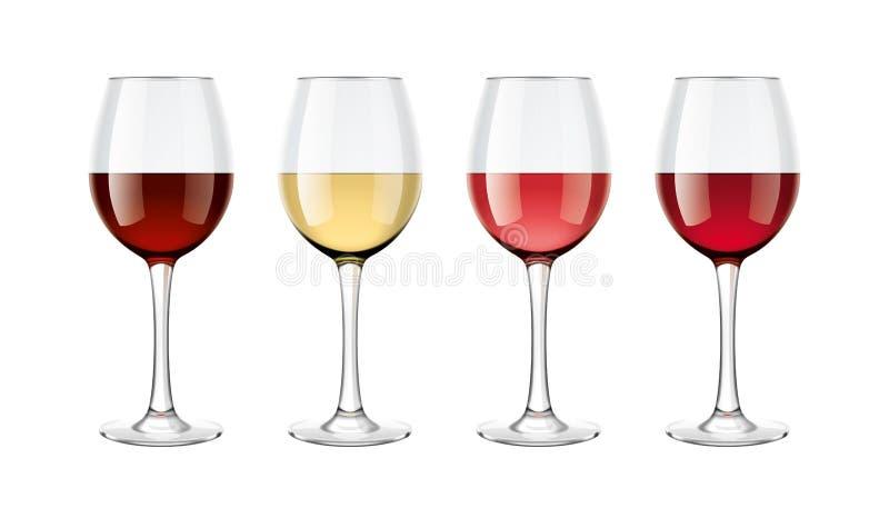 Weinglas-Modellsatz lizenzfreie abbildung