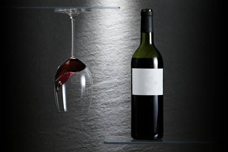 Weinglas und -flasche gedreht lizenzfreie stockbilder