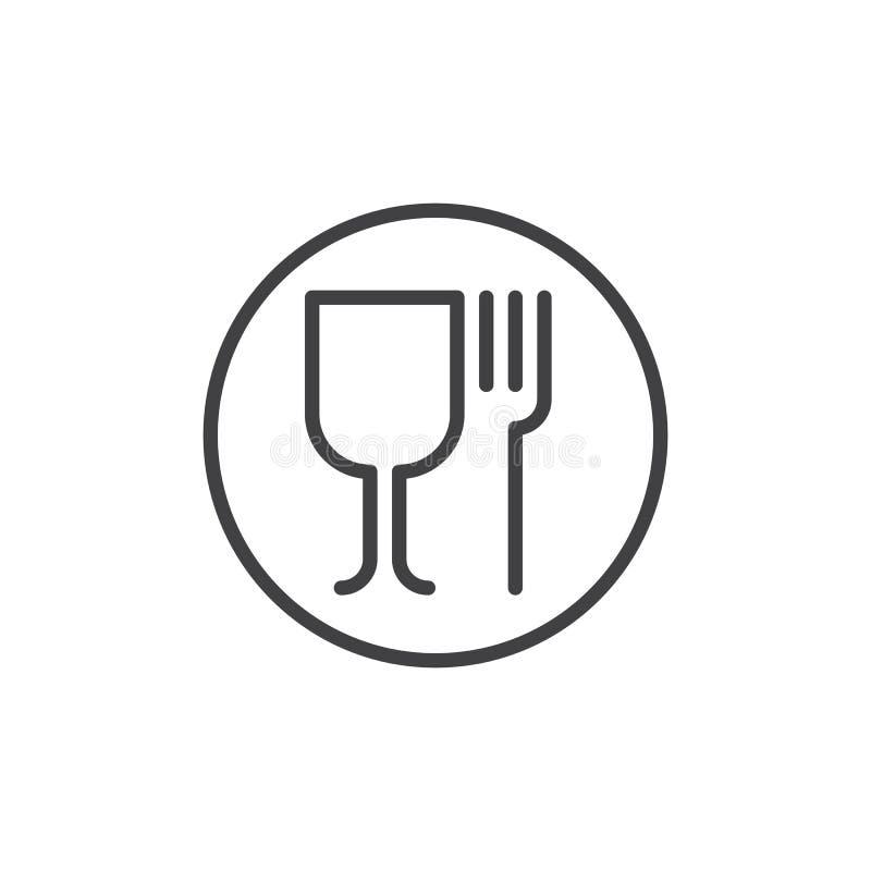 Weinglas- und Gabellinie Ikone lizenzfreie abbildung