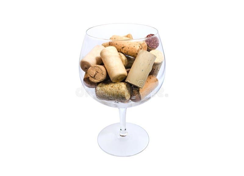 Weinglas voll Korken stockbilder