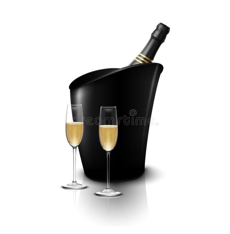 Weinglas zwei mit Weinflaschen Champagner in einem Eimer vektor abbildung