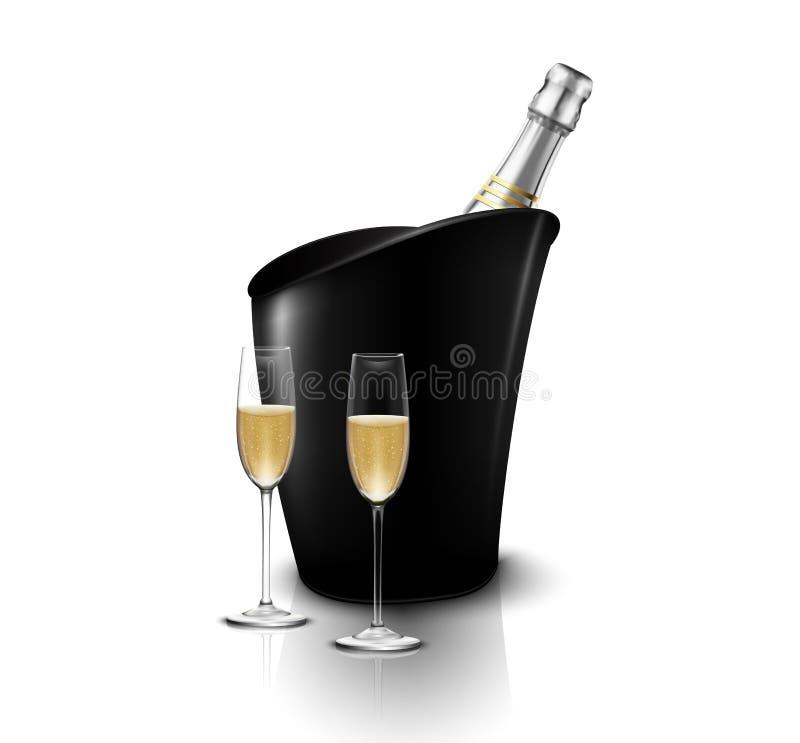 Weinglas zwei mit Weinflaschen Champagner in einem Eimer lizenzfreie abbildung