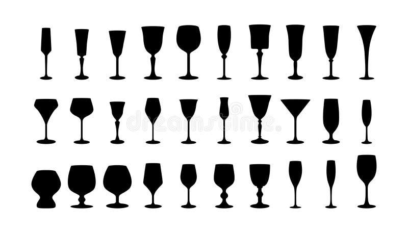 Weinglasschattenbilder eingestellt. vektor abbildung