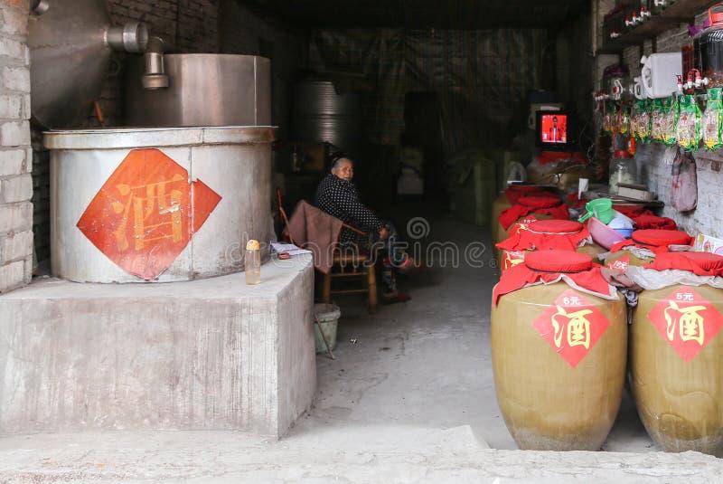 Weinhandlung in der alten Stadt, Chengdu, Porzellan lizenzfreie stockfotos