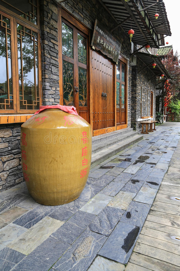 Weinhandlung in qili Stadt, das Emei Shan, Sichuan, Porzellan stockfoto