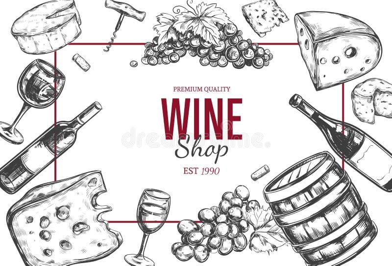 Weinhandlungsrahmen Vektor stock abbildung