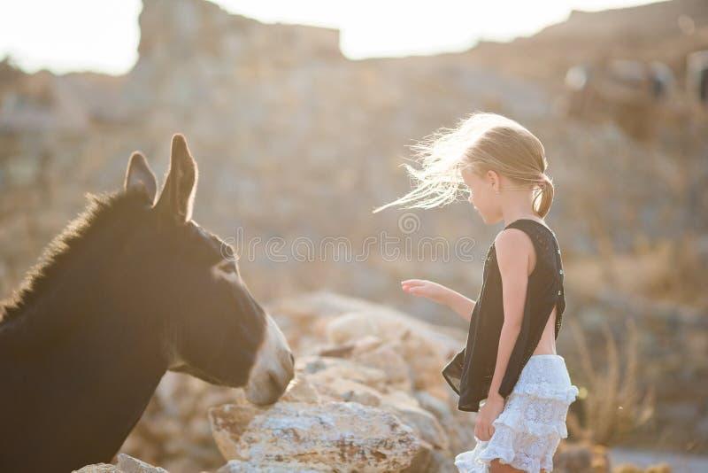 Weinig aanbiddelijk meisje met ezel op Mykonos stock foto's