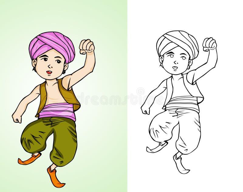 Weinig Aladdin - Arabisch jong geitje royalty-vrije illustratie