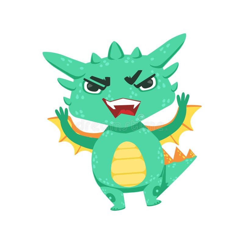 Weinig Anime-Illustratie van het Karakteremoji van Dragon Angry In Offence Cartoon van de Stijlbaby stock illustratie