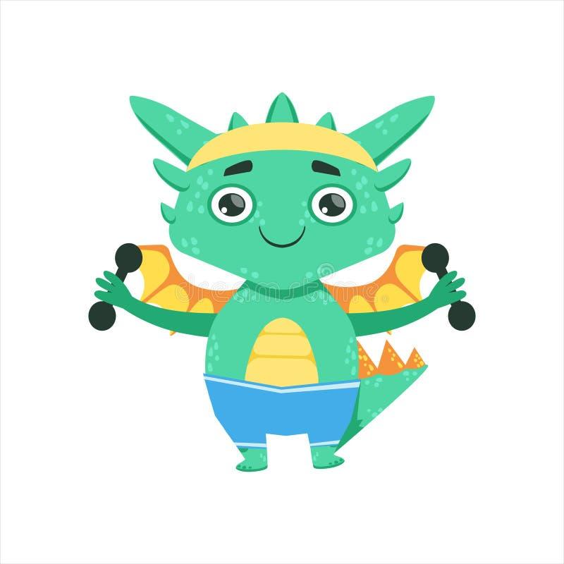 Weinig Anime-Illustratie van het Karakteremoji van Dragon Exercising With Dumbbells Cartoon van de Stijlbaby royalty-vrije illustratie