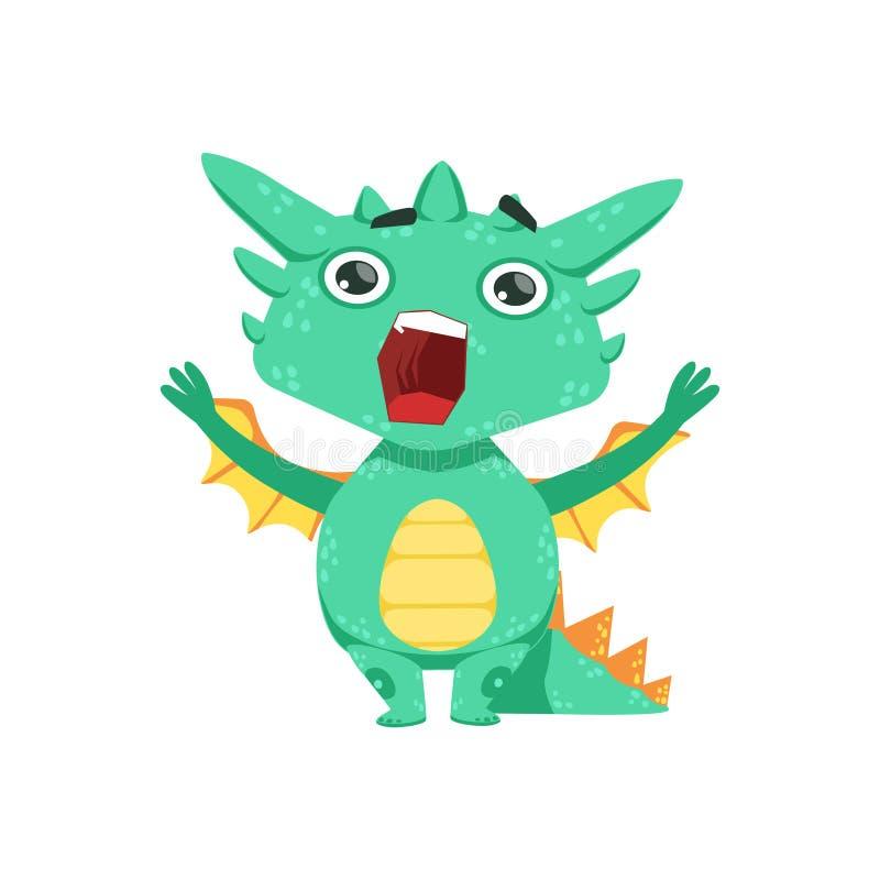 Weinig Anime-Illustratie van het Karakteremoji van Dragon Shouting And Screaming Cartoon van de Stijlbaby stock illustratie