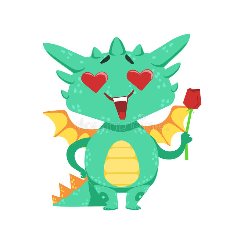 Weinig Anime-Stijlbaby Dragon In Love Holding Single Rode Rose Cartoon Character Emoji Illustration royalty-vrije illustratie
