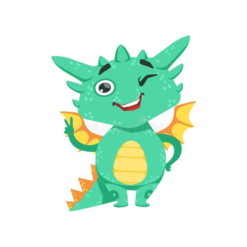 Weinig Anime-van het het Gebaarbeeldverhaal van Dragon Winking And Showing Peace van de Stijlbaby Illustratie van het Karakteremo vector illustratie