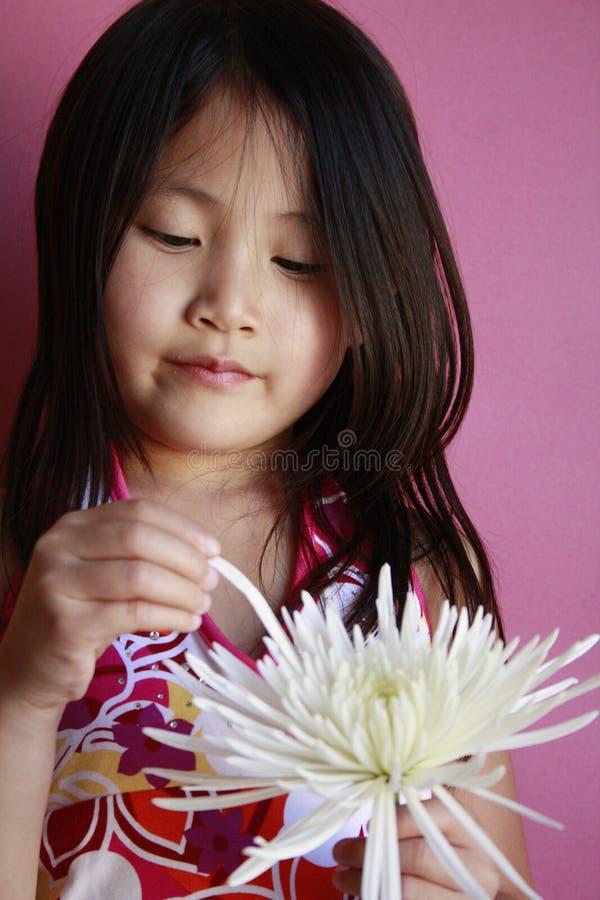 Weinig Aziatisch meisje met bloem royalty-vrije stock afbeeldingen