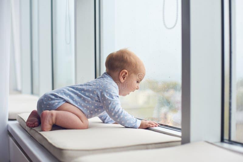 Weinig babyjongen crawlibg dichtbij groot venster royalty-vrije stock fotografie