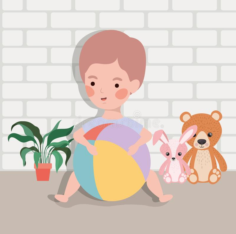 Weinig babyjongen met ballon plastic en gevuld speelgoed stock illustratie