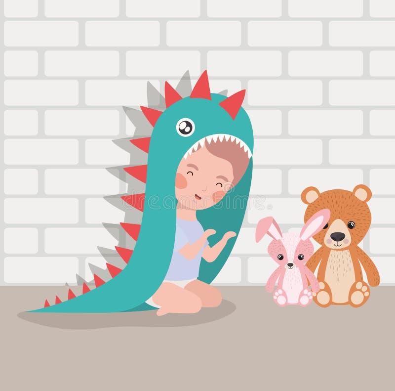 Weinig babyjongen met gevuld speelgoed en kostuum stock illustratie
